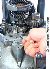 gearbox repair - hand, spannar and gearbox repair
