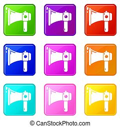Hand speaker icons set 9 color collection
