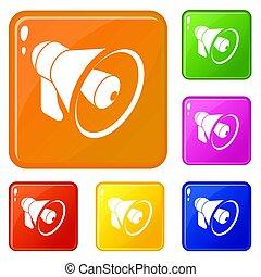 Hand speaker icons set color