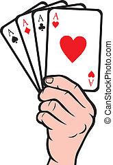 hand, speelkaart, vasthouden