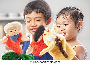 hand, spielende , geschwister, marionette