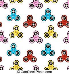 Hand Spinner Seamless pattern on white background. Fidget toy Flat design Vector