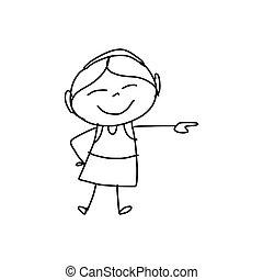 hand, spotprent, geluk, tekening