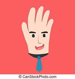 hand, spotprent, zakelijk, gezicht