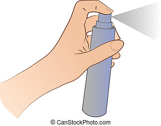 Hand Spraying - Hand spraying an aerosol can