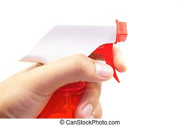 hand spraying water