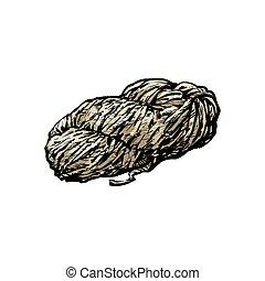 Hand spun twisted yarn of grey wool, farm product, sketch...