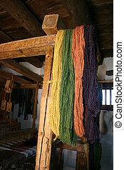 Hand Spun Yarn - Colorful hanks of natural-dyed hand spun...