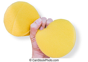Hand Squeeze Sponge isolated on white with clipping path