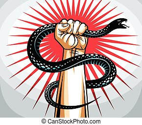 Hand squeezes a snake, fight against evil, control your dark side, internal conflict, archetype shadow, life is a fight concept, vintage vector logo or tattoo.