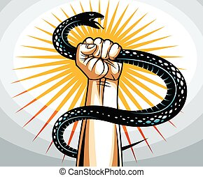 Hand squeezes a snake, fight against evil devil and Satan, control your inner beast animal, archetype shadow, life is a fight concept, vintage vector logo or tattoo.
