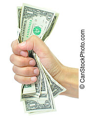 Hand squeezing a wad of dollar banknotes