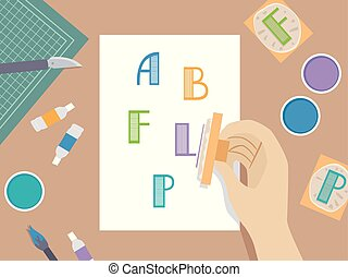 Hand Stamping Illustration
