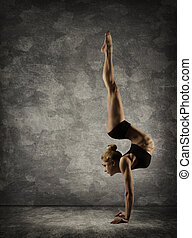 Hand Stand, Woman Handstand, Girl Acrobat Performer doing...