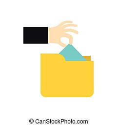 Hand stealing e-mail icon, flat style