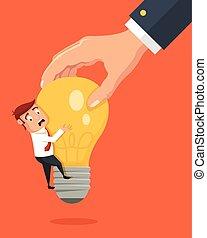 Hand stealing idea light bulb