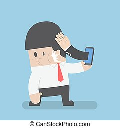 Hand sticking out from smartphone and slapped businessman face