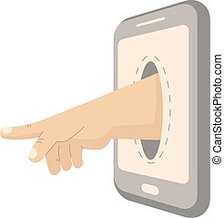 Hand sticking out of the smartphone