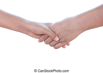 Hand in a hand on a white background