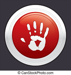 Hand stop button. Vector red round sticker.