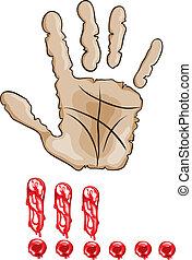 Hand stop signal. vector illustration