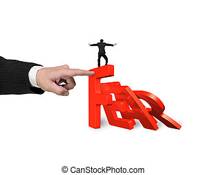 Hand stopping fear word domino falling with man balance it