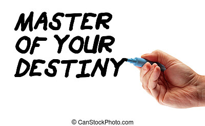 """Closeup of a hand writing a message """"Master Of Your Destiny"""", possibly for a business strategy, isolated on a white background."""