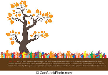 Hand style save the Earth tree