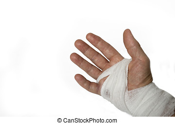 Hand Surgery - close up of a hand wraped after having...