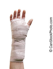 Hand Surgery - Hand in a cast from carpal tunnel surgery