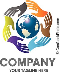 hand surrounding earth logo - Colorful hands around earth...