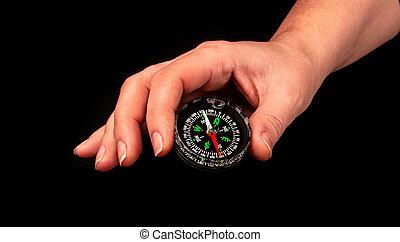 hand, svart, holdingen, kompass