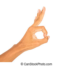 hand symbol in white isolated
