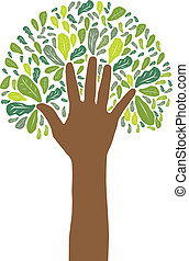 hand symbol of green tree