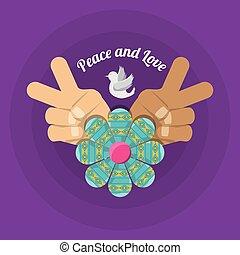 hand symbol peace and love symbol hippie concept