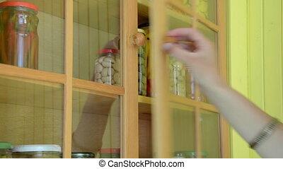 hand take glass pot food