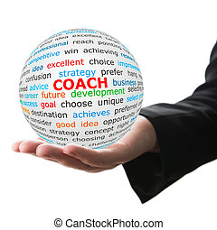 Hand take white ball with red inscription coach