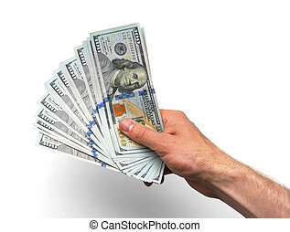hand takes lot of 100 banknotes