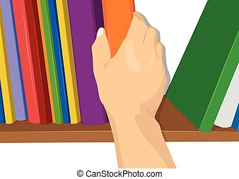 hand taking a book out from the shelf