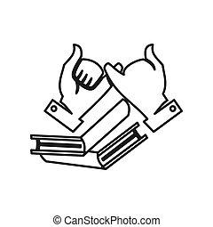 hand, teamwork, samen, opleiding, verplichting, boek, schets, logo