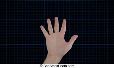 hand, technologie, futuristisch, scanderen