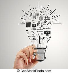 hand, tekening, creatief, handel strategie, met, gloeilamp, als, concept