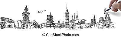 hand, tekening, de, droom, reizen, rond de wereld, in, een, whiteboard