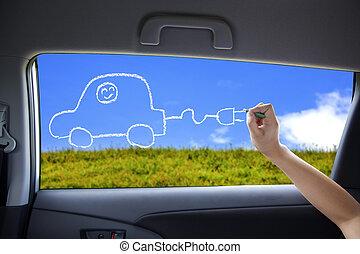 hand, tekening, elektrische auto, concept, op, de, auto, vensters