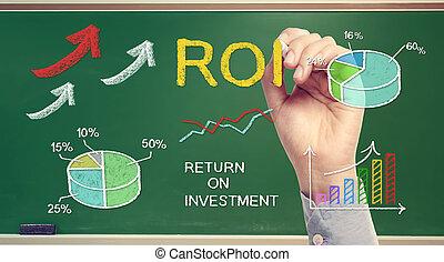 hand, tekening, roi, (return, op, investment)
