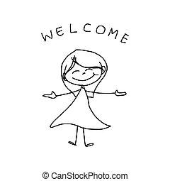 hand, tekening, spotprent, geluk