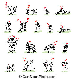 hand, tekening, spotprent, liefde