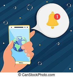 hand, telefon, benachrichtigung, app, besitz