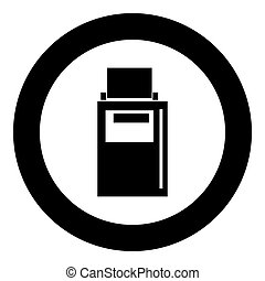 Hand terminal black icon in circle vector illustration