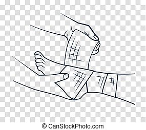 hand that bandaging the foot icon - first aid in the form of...